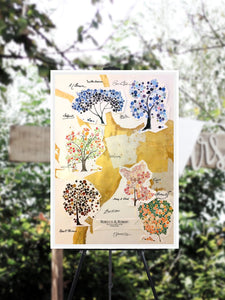 collage guest book with gold and silver leaf
