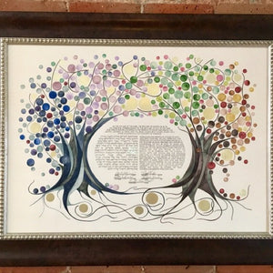 watercolor ketubah four seasons hebrew calligraphy painting