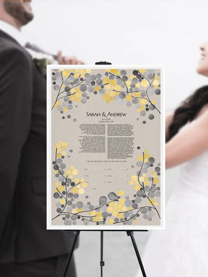Modern Floral Branches Ketubah art print wedding