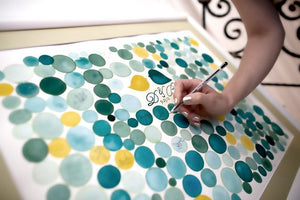 Wedding Guest Book watercolor painting WEDDING PENNY TILES