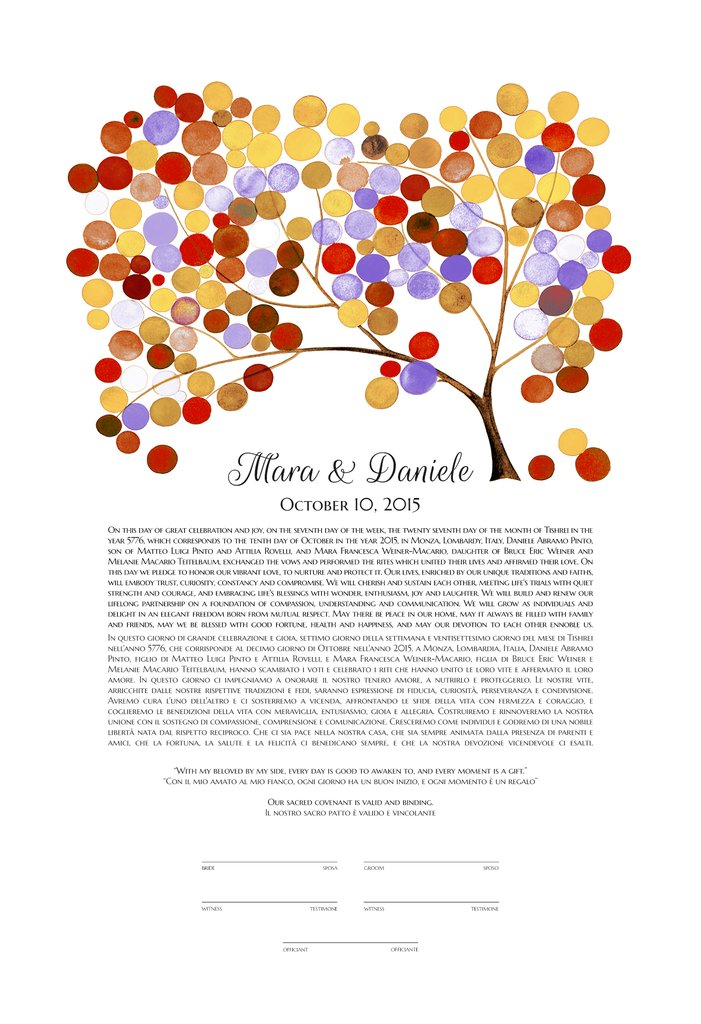 MODERN WEDDING KETUBAH TREE OF LIFE - Reviewed by Daniele Abramo Pinto