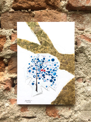Post Eden art of living - Tree - collage mounted on board, print, pencil, gold and silver leaf