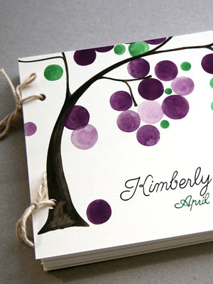 Custom Colors Wedding Guest Book Album with Tree Branch, Modern minimalist guestbook album with watercolor painted hardcovers
