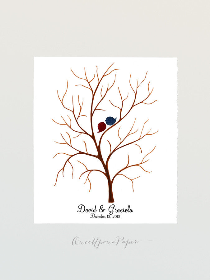 Wedding Guest Book Tree Thumbprint Custom - 100 Guest Signatures - fingerprint ready wedding guestbook, love birds tree guest book