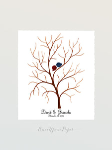Wedding Tree Thumbprint fingerprint ready wedding guestbook