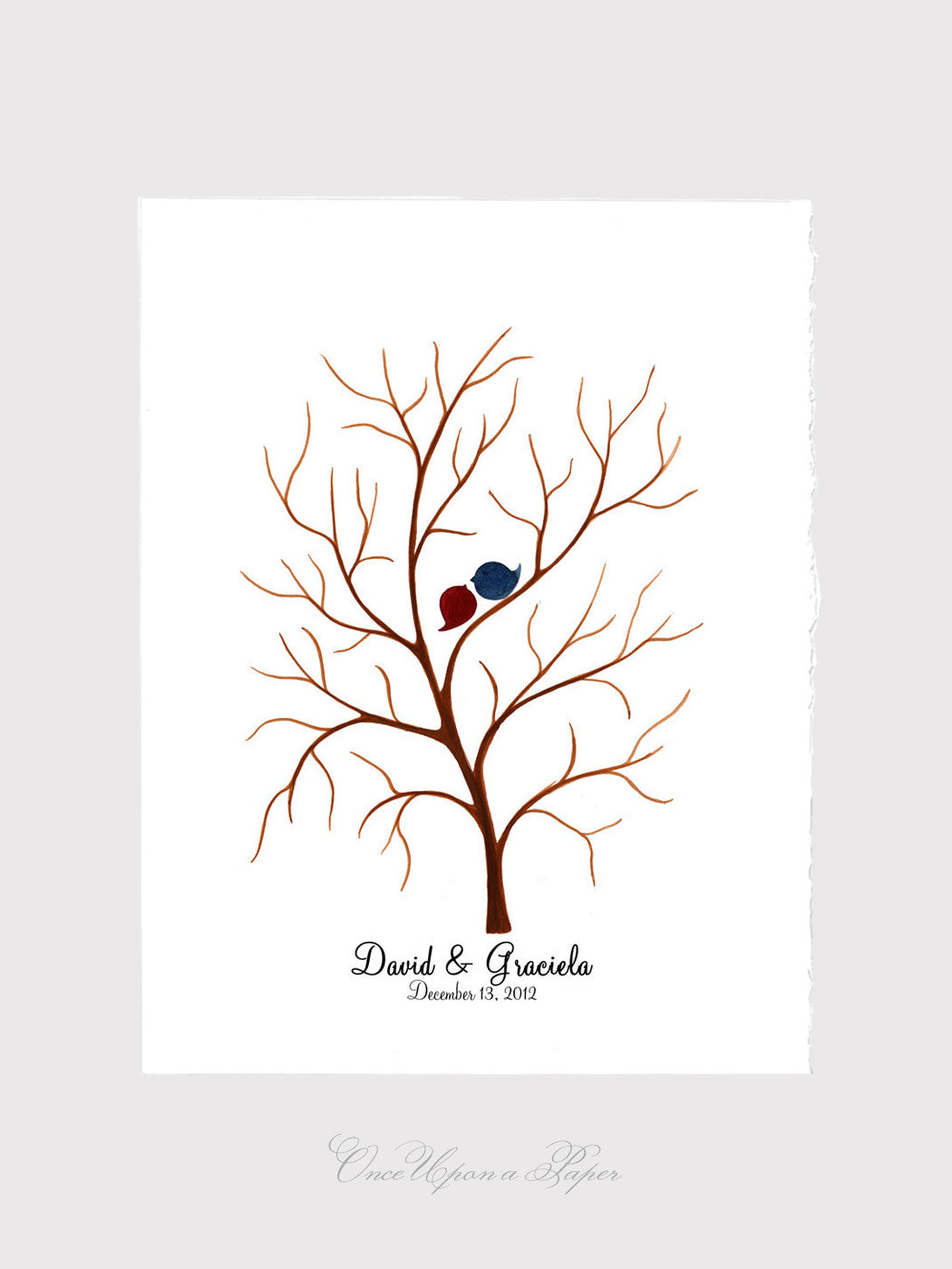 Wedding Guest Book Tree Thumbprint Custom - 100 - 150 fingerprints signatures - fingerprint ready wedding guestbook, tree guest book