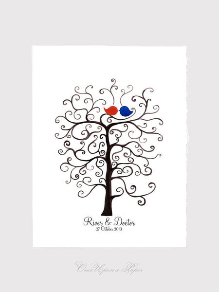 Fingerprint Wedding Tree, Custom Wedding Guest Book alternative - 100 Guest Signatures - thumbprint ready