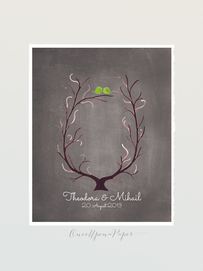 Fingerprint Wedding Tree - thumbprint ready love birds