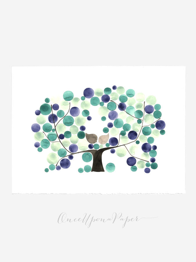 Wedding Guest Book ALDERMAN APPLE TREE - 80 Guest Signatures Modern Guestbook alternative original wedding wish tree Interactive Art Poster