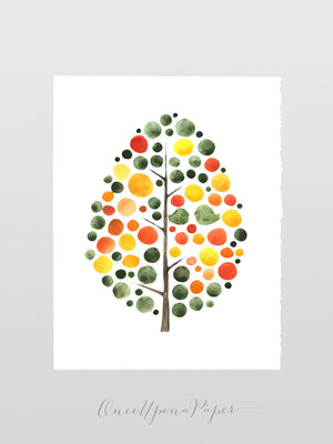 AGAINST THE SUNLIGHT TREE Watercolor Art Print