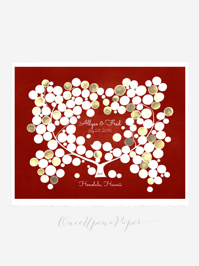 Wedding guest book tree print - Guest book alternative - BEACH PLUM TREE 125 orbs