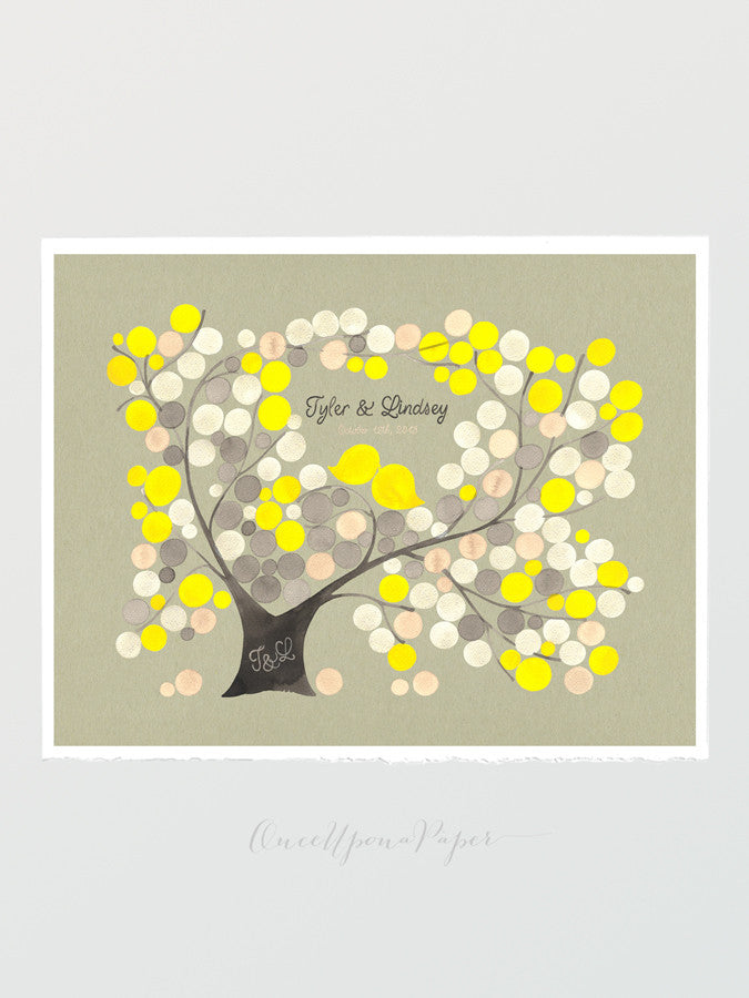 Wedding Rustic Guest Book Alternative - Another Spring Love - 150 Guest Sign in - Personalized Signature Wedding Tree Love Birds  art Poster