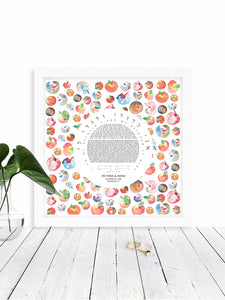 Apples Ketubah Print - Jewish weddings - Custom modern Ketubah
