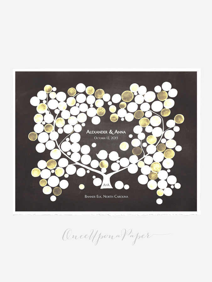 Modern Wedding GuestBook rustic tree - BEACH PLUM TREE