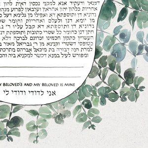 Custom Eucalyptus Ray Ketubah Artwork Commission