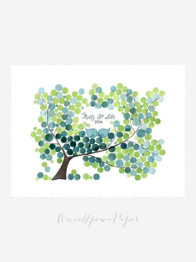 Modern Wedding Guest Book Alternative Print - FRESH PEACAN TREE 200-orbs Large Poster wedding Guestbook - custom wedding guest book