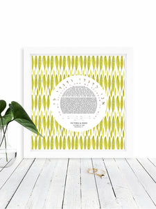 Chevron Feathers Ketubah Print - Jewish weddings - Custom modern Ketubah