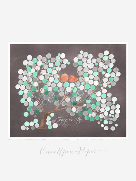 Wedding Guest Book Tree Alternative  Love Birds - 200 Guest Signatures -  Modern original Guestbook on Chalkboard background