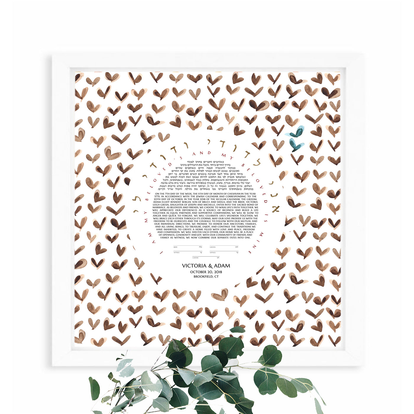 Happy Butterflies Ketubah Print - Jewish weddings - Custom modern Ketubah