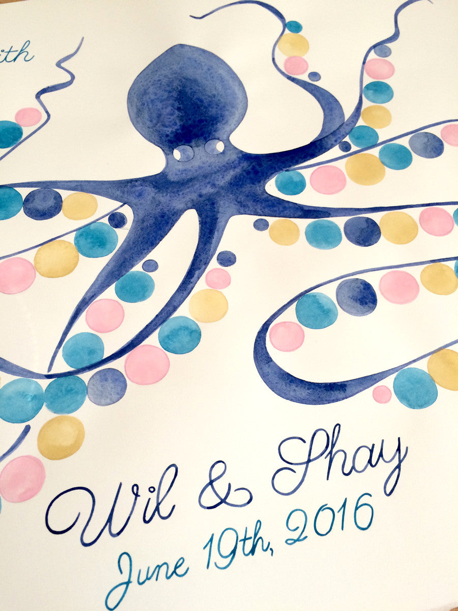 Baby shower Guest Book Alternative print - watercolor gift - SQUID