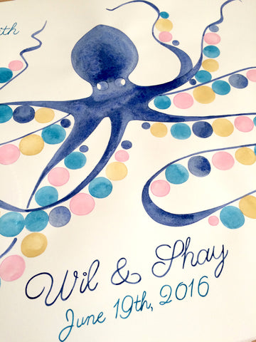 Baby shower Guest Book Alternative print - watercolor wedding guestbook gift - SQUID