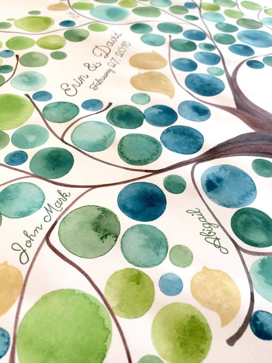Family Tree original watercolor painting silver or gold pigment colors - family tree maker OnceUponaPaper