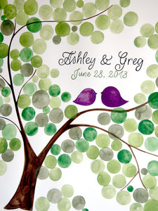 Personalized Wedding Guest Book Tree Alternative - 175 guest signatures Large Custom Wedding guestbook, Event Tree Guest book, love birds