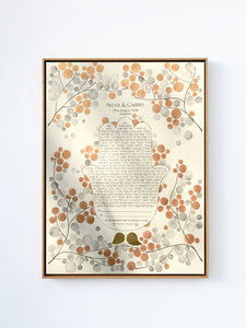 Holy Hamsa Ketubah <> Bronze watercolor painting and calligraphy