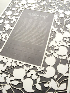 Ketubah Papercut Modern Ketubah Print with papercut layer papercut ketubah - BELOVED GARDEN