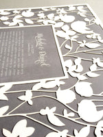 Load image into Gallery viewer, Ketubah Papercut Modern Ketubah Print with papercut layer papercut ketubah - BELOVED GARDEN