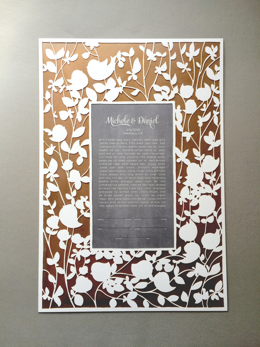 Red Metallic Gold painted layer Modern Ketubah Print with Papercut layer - BELOVED GARDEN