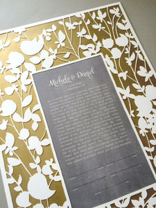 Yellow Metallic Gold painted layer Modern Ketubah Print with papercut layer ketubah - BELOVED GARDEN