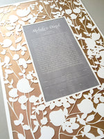 Load image into Gallery viewer, Red Metallic Gold painted layer Modern Ketubah Print with Papercut layer - BELOVED GARDEN