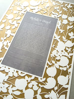 Load image into Gallery viewer, Yellow Metallic Gold painted layer Modern Ketubah Print with papercut layer ketubah - BELOVED GARDEN