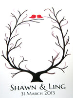 Load image into Gallery viewer, Fingerprint Wedding Tree - thumbprint ready love birds