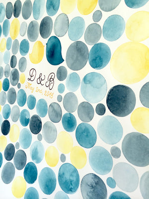 Personalized Wedding Guest Book Signature Orbs - 300 guest signatures alternative, wedding penny tiles, Guest Signature Stone watercolor