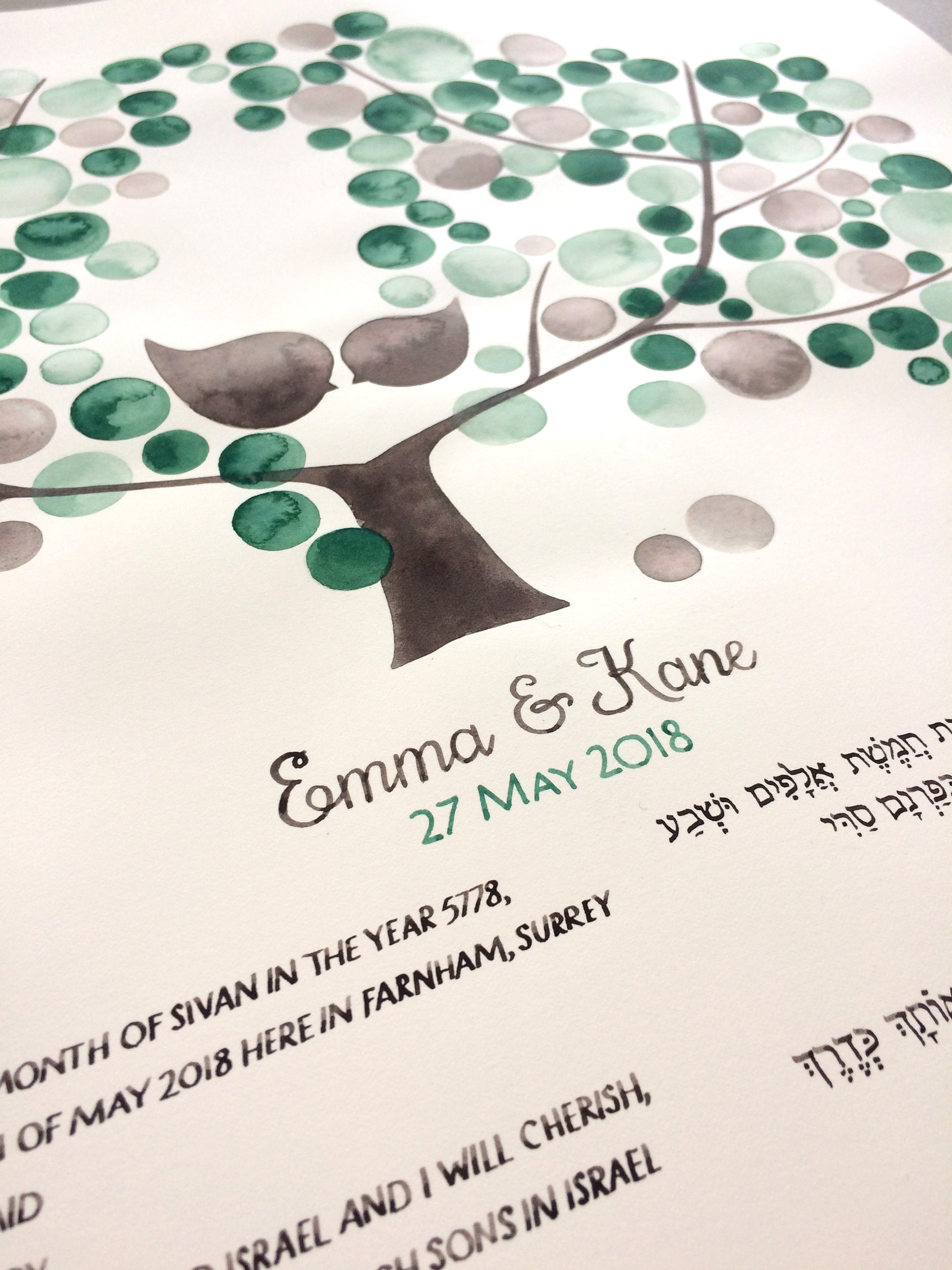 Hand painted Greenery Ketubah Watercolor Calligraphy