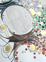 Load image into Gallery viewer, FOUR SEASONS KETUBAH Watercolor Commission Painting - Entangled Trees with Gold Leaf accents