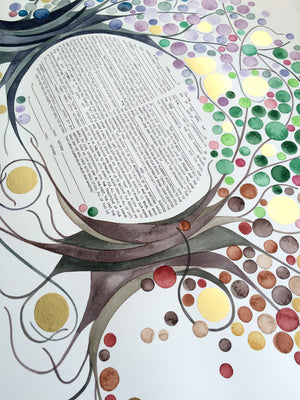 FOUR SEASONS KETUBAH Watercolor Commission Painting - Entangled Trees with Gold Leaf accents