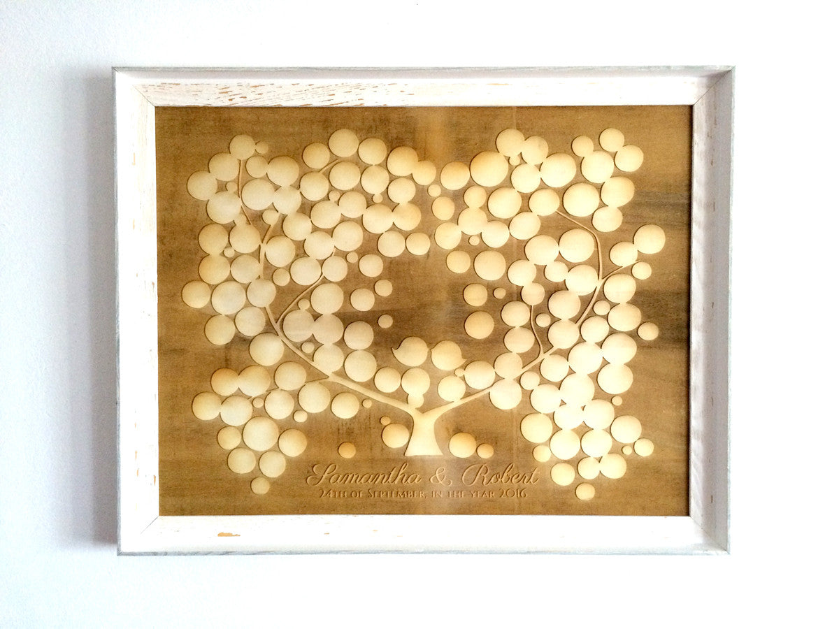 Small Engraved Wood Guest Book - 150 signature spots - poplar wood finish