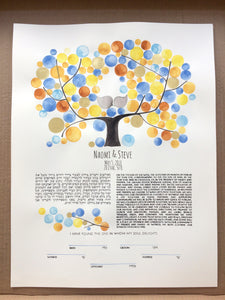 Jelly Beans Ketubah Watercolor Painting Gold leaf proud