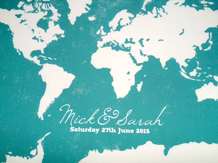 Wedding Guest Book Alternative Print, WORLD MAP guests - 30  to 125 Guest Signatures - Modern original Guestbook Poster