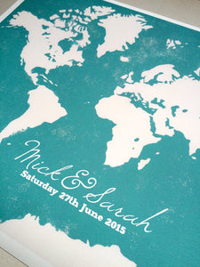 Wedding Guest Book Alternative Print WORLD MAP