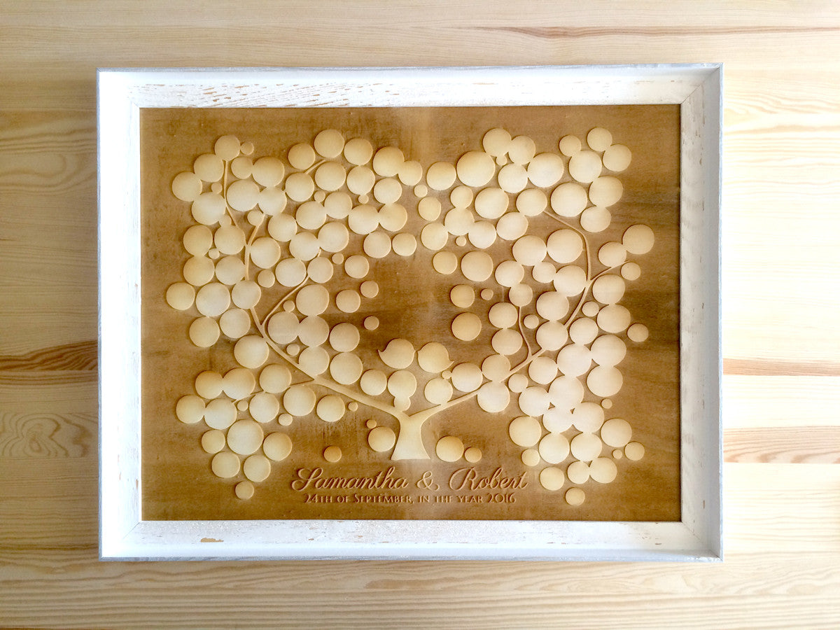Large wood Guest Book - 150 signature spots - Engraved poplar wood finish