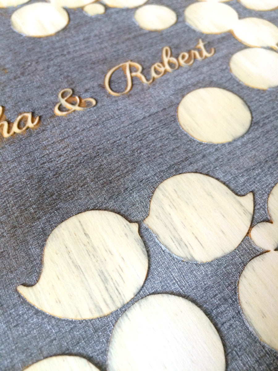 Rustic Silver Engraved wood Background Painted Guest Book - 150 signature spots - poplar wood finish