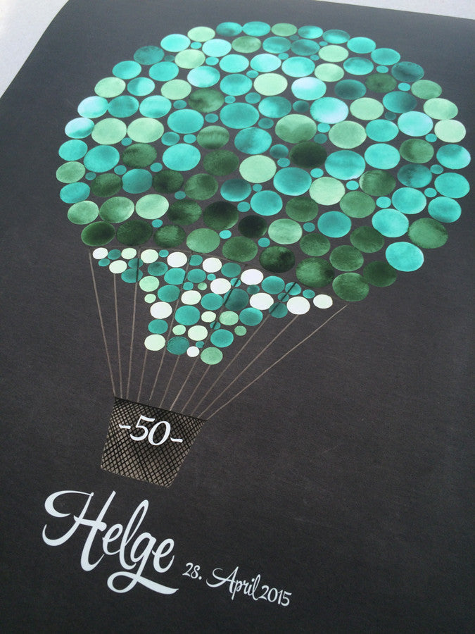 Wedding Guest Book Alternative Print, HOT AIR BALLOON - 100 Guest Signatures - Signature letterpress background Modern original Guestbook