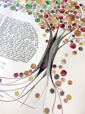 FOUR SEASONS Custom KETUBAH Commission Painting - Entangled Trees with Gold Leaf