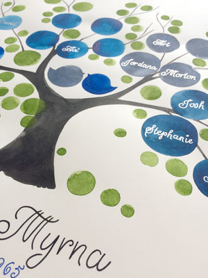 Custom Ancestry Tree watercolor painting - Silver and Gold custom names and text - Family Tree Blue by Elena Berlo