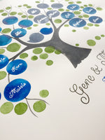Load image into Gallery viewer, Custom Ancestry Tree watercolor painting - Silver and Gold custom names and text - Family Tree Blue by Elena Berlo