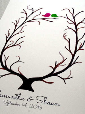 Custom Wedding Guest Book alternative - thumbprint ready